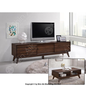 Mid-Century Modern Tv Cabinet (6Ft) & Coffee Table (Walnut) - Sa1666Tv&ct Set Living Room