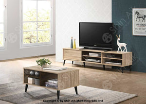 Mid-Century Tv Cabinet (6Ft) & Coffee Table (Natural Walnut) Combo Set - Satv&ct1655 Living Room