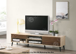 Mid-Century Tv Cabinet (6Ft) & Coffee Table (Natural Walnut) Combo Set - Satv&ct1659 Living Room