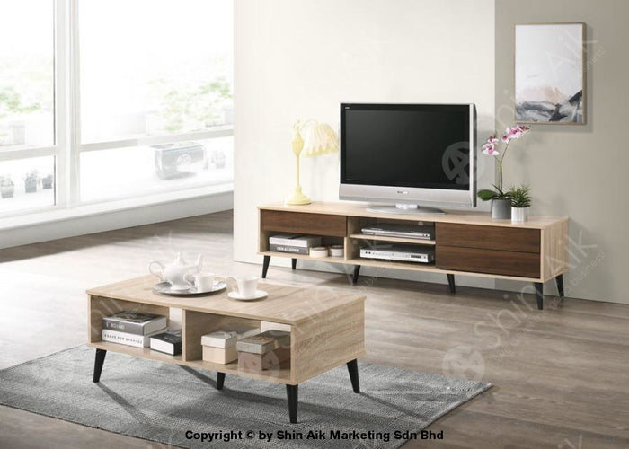 Mid-Century TV Cabinet (6'ft) & Coffee Table (Natural & Walnut) Combo Set - SATV&CT1659