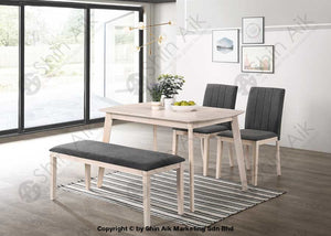 Modern Contemporary 2 Seater Grey Fabric Cushion Whitewash Wooden Dining Bench - Sabc5953 Room