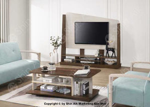 Modern Contemporary 2 Tone Tv Display / Divider Rack (6Ft) (Walnut & Ash) - Satv1661 Living Room