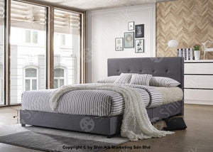 Modern Contemporary Grey Fabric Upholstery Double Divan Bed - Sadb58550 Bedroom