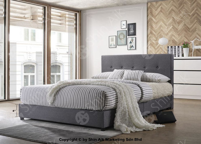 "Grey Fabric Button Tufted Double Divan Bed (5""HB) - SADB58550"