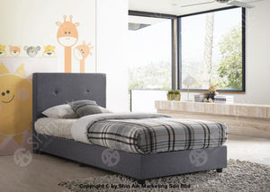 Modern Contemporary Grey Fabric Upholstery Single Divan Bed - Sadb58550 Bedroom