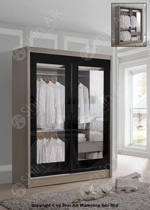 Modern Contemporary Sliding Door Wardrobe (5X6Ft) Clay Pine - Sa9525Wr -29 Glass Bedroom