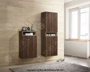 Modern Contemporary Storage Shoe Cabinet (Walnut) - Sasc7006 & Sasc7007 Entryway