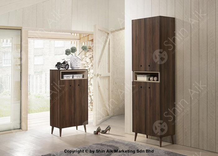 Modern Contemporary Storage Shoe Cabinet (Walnut) - SASC7006 & SASC7007