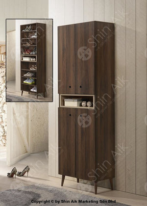 Modern Contemporary Storage Shoe Cabinet (Walnut) - Sasc7006 & Sasc7007 High Entryway