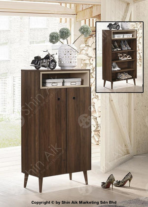 Modern Contemporary Storage Shoe Cabinet (Walnut) - Sasc7006 & Sasc7007 Low Entryway