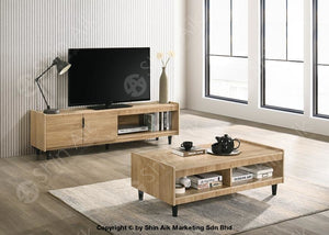 Modern Contemporary Tv Cabinet (6Ft) & Coffee Table (Natural Oak) - Sa63027Tv&ct Set Living Room