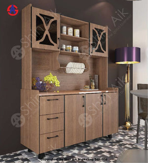 Modern Flat-Front Style Stainless Steel-Top High Kitchen Cabinet (5X6.5Ft) (Walnut) - Sakc5202