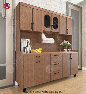 Modern Flat-Front Style Stainless Steel-Top High Kitchen Cabinet (6X6.5Ft) (Walnut) - Sakc5800