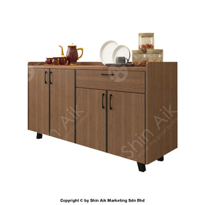 Modern Flat-Front Style Stainless Steel-Top Low Kitchen Cabinet (5Ft) (Walnut) - Sakc5201
