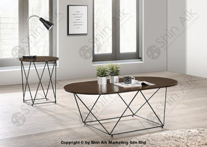 Modern Industrial Style Coffee Table (4Ft) (Walnut) - Sact2285 Living Room