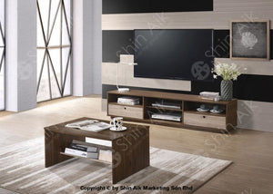 Modern Tv Cabinet (6Ft) & Coffee Table (Walnut Natural) Combo Set - Satv&ct1637 Living Room