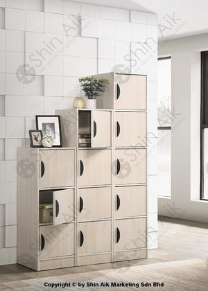 Multi-Layer Free Combination Modular Storage Cabinet (1 Door) (Ash / Walnut) - Sabc2806 Study Room