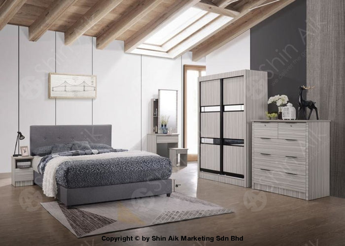 Stripe Poplar Modern Contemporary Bedroom Set (4'x6'ft) - SA9913BRS