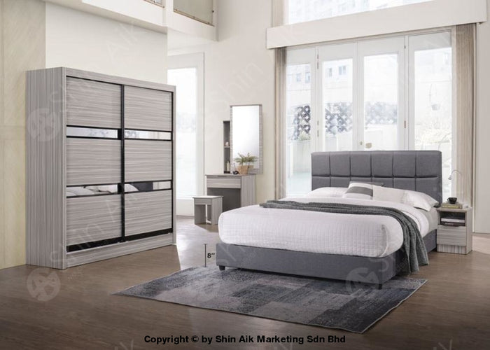 Stripe Poplar Modern Contemporary Bedroom Set (5'x6'ft) - SA9953BRS