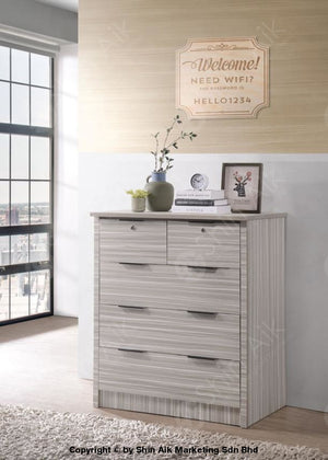 Modern Contemporary Bedroom Set (5X6Ft) (Stripe Poplar) - Sa9953Brs Chest Drawer