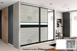 Stripe Poplar Modern Sliding Door Wardrobe (8X8Ft) - Sawr917001+7001 Bedroom