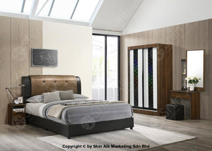 Walnut Modern Contemporary Bedroom Set (4X6Ft) - Sa9915Brs