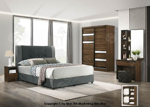 Walnut Modern Contemporary Bedroom Set (5X6Ft) - Sa9967Brs