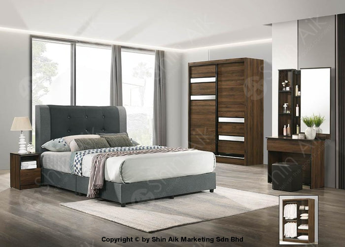 Walnut Modern Contemporary Bedroom Set (5'x6'ft) - SA9967BRS