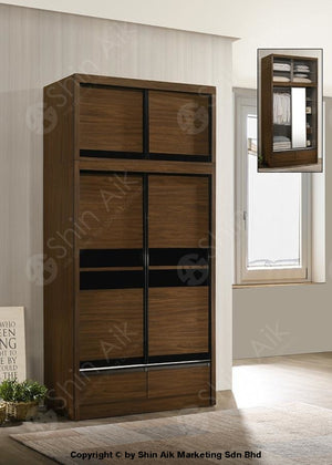 Walnut Modern Sliding Door Wardrobe With Top (4X8Ft) - Sawr9055&9057 Bedroom