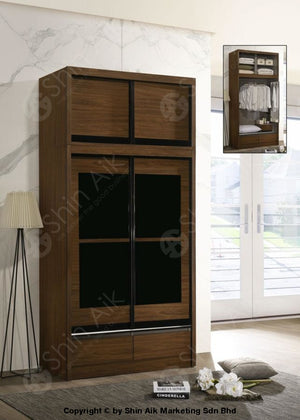 Walnut Modern Sliding Door Wardrobe With Top (4X8Ft) - Sawr9056&9057 Bedroom