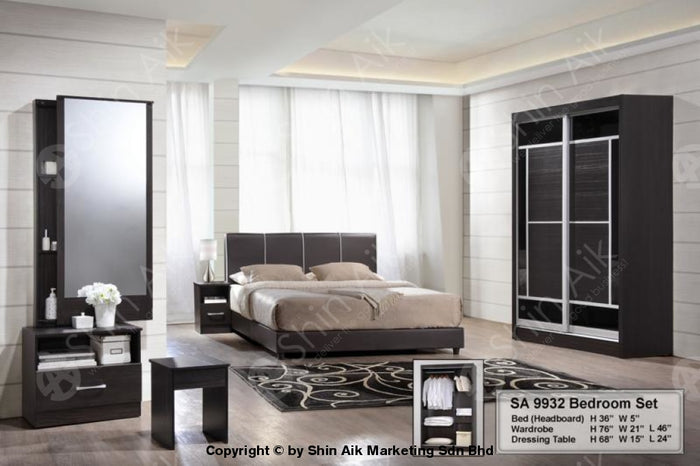 Wenge Modern Contemporary Bedroom Set (4'x6'ft) - SA9932BRS