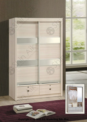 White Modern Sliding Door Wardrobe With Top (4X6Ft) - Sa9052-5Wr Bedroom