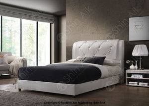 White Pu Diamond Buttons Double Layer Tufted Divan Bed (8Hb) - Sadb58537Wh Bedroom