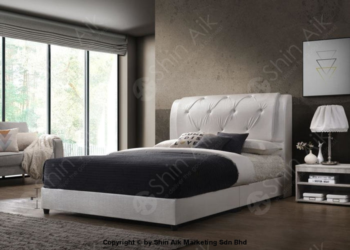 "White PU Diamond Buttons Double Layer Tufted Double Divan Bed (8""HB) - SADB58537WH"