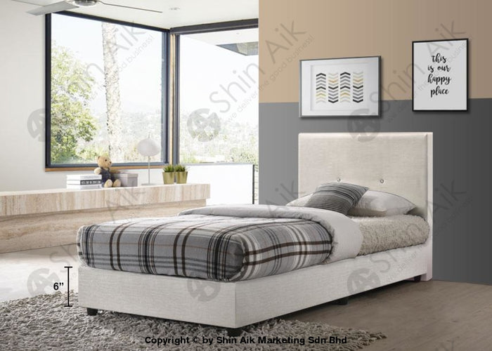 "White PU Diamond Buttons Tufted Single Divan Bed (5""HB) - SADB55-3WH"