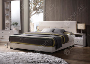 White Pu Diamond Decor Tufted Double Divan Bed (5Hb) - Sadb55Wh Bedroom