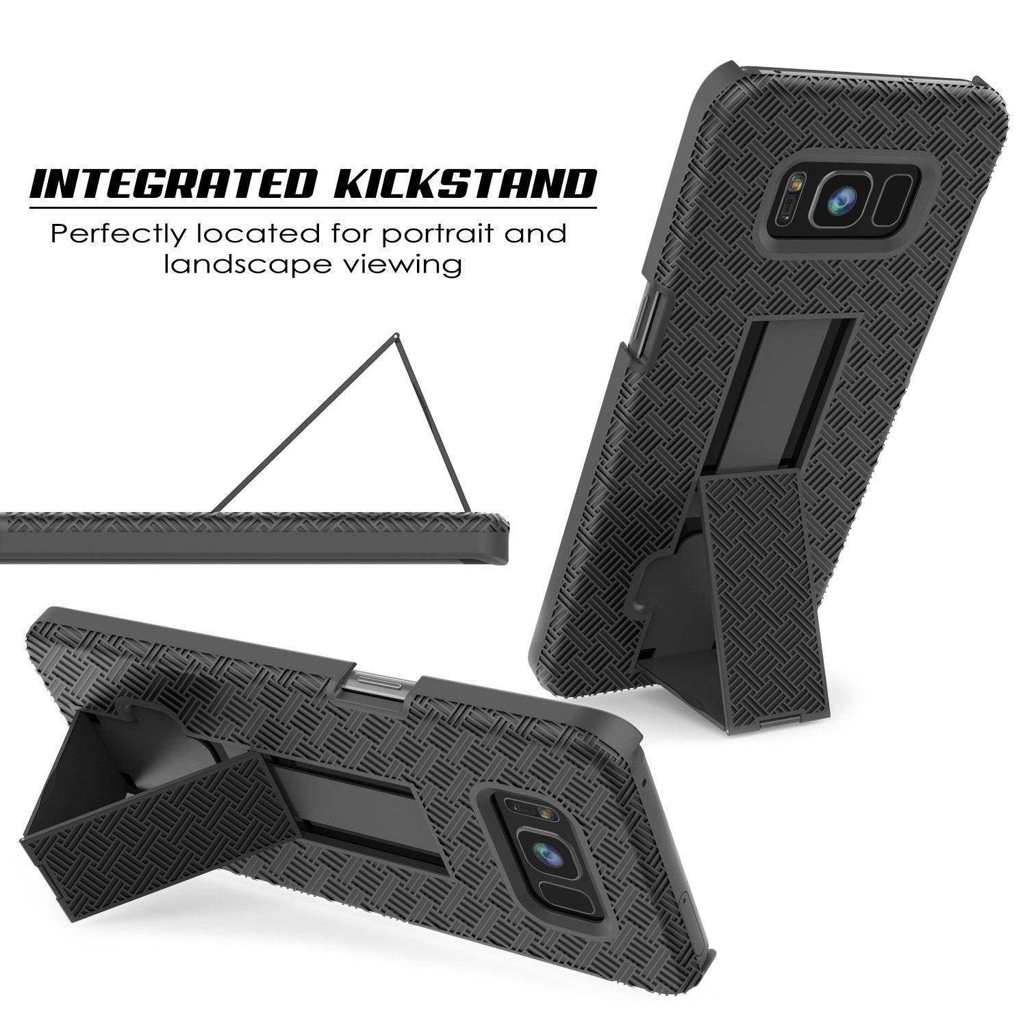 Black Punkcase Galaxy S8 Plus Case With Screen Protector Holster Belt Clip /& Built-In Kickstand Non Slip Dual Layer Hybrid TPU Full Body Protection for Samsung Galaxy S8+ Edge Thin Fit