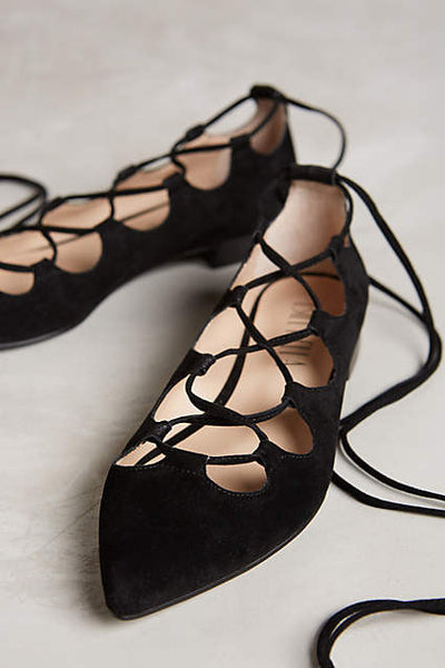 Luna Blk Suede Lace Up