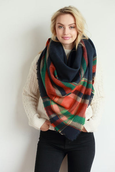 Navy Multi Plaid Blanket Scarf