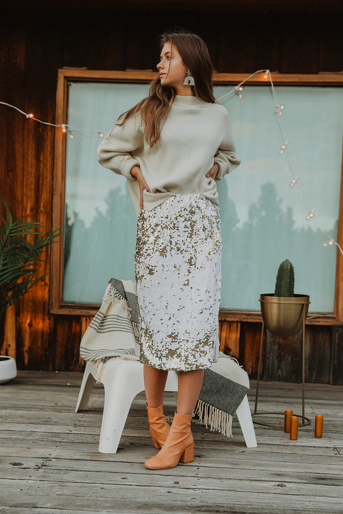 Hailey White Sequin Midi Skirt