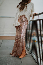 Midnight Sequin Maxi Skirt (Rose Gold)