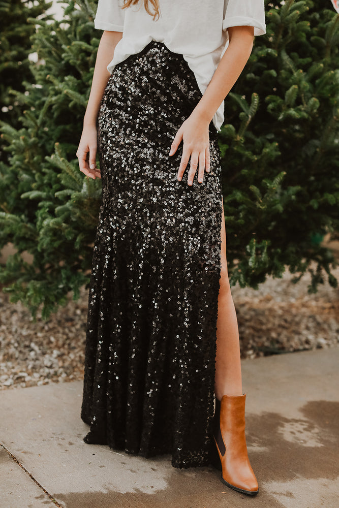Midnight Sequin Skirt (Black)