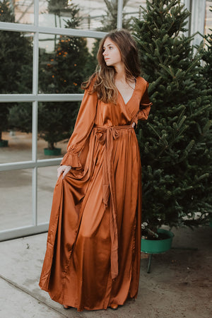 Margot Dress Satin Dress (Copper)