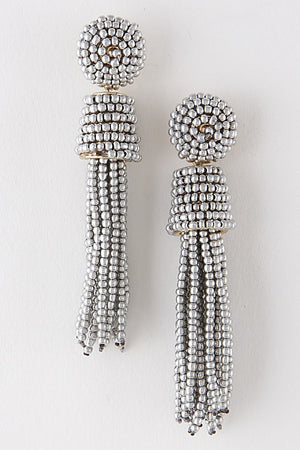 Party Beaded Tassel Earrings (Silver)