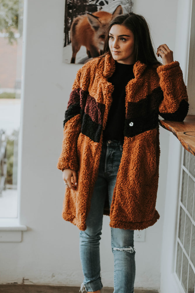 Elizabeth Teddy V Coat (Cinnamon)