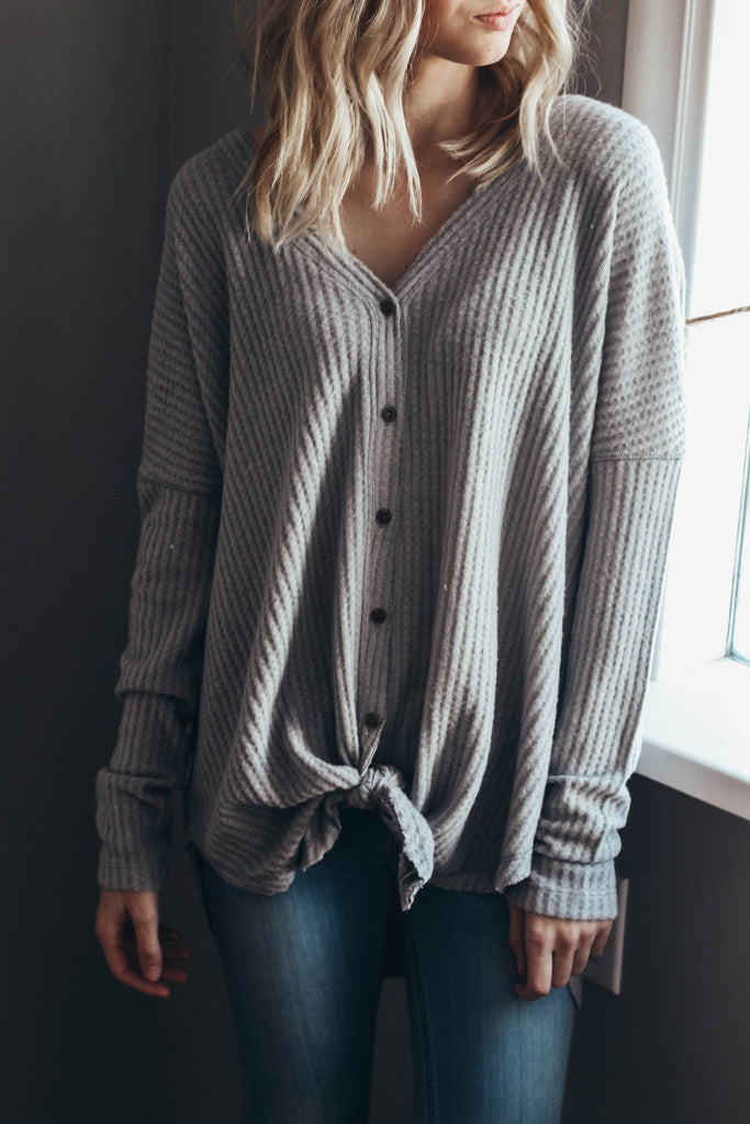 Button Up Waffle Top