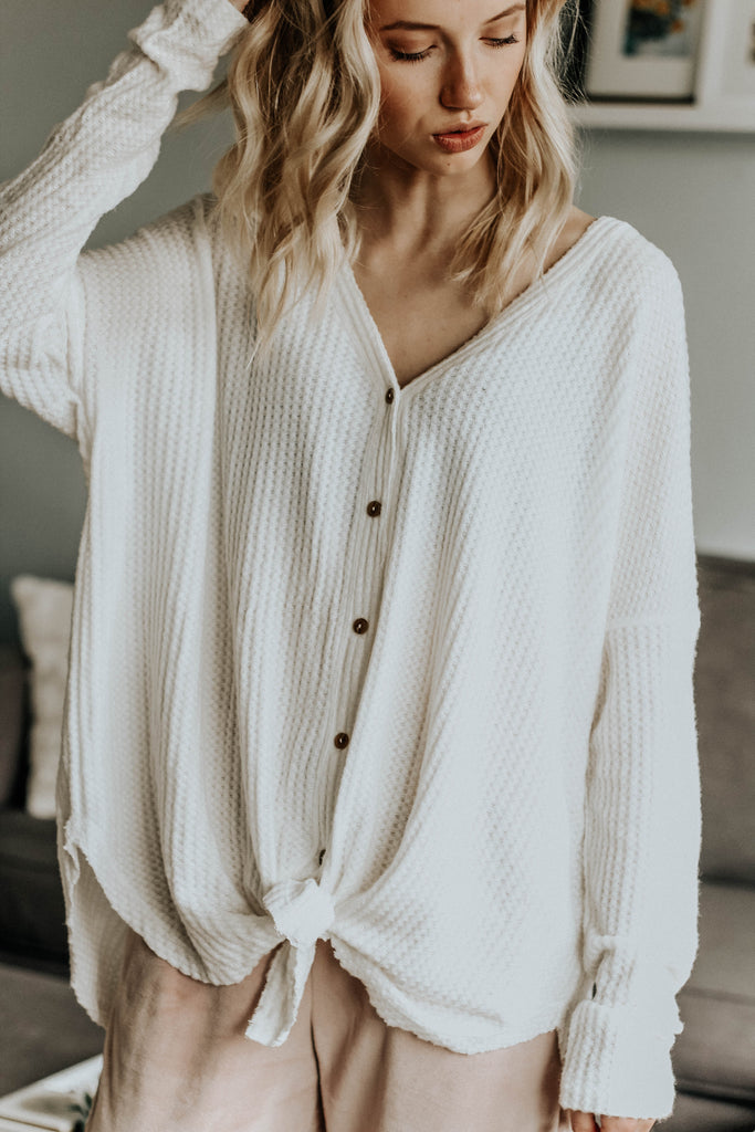 Button Up Waffle Top (Ivory)