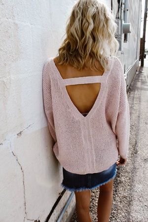 Triangle Back Sweater (Blush)