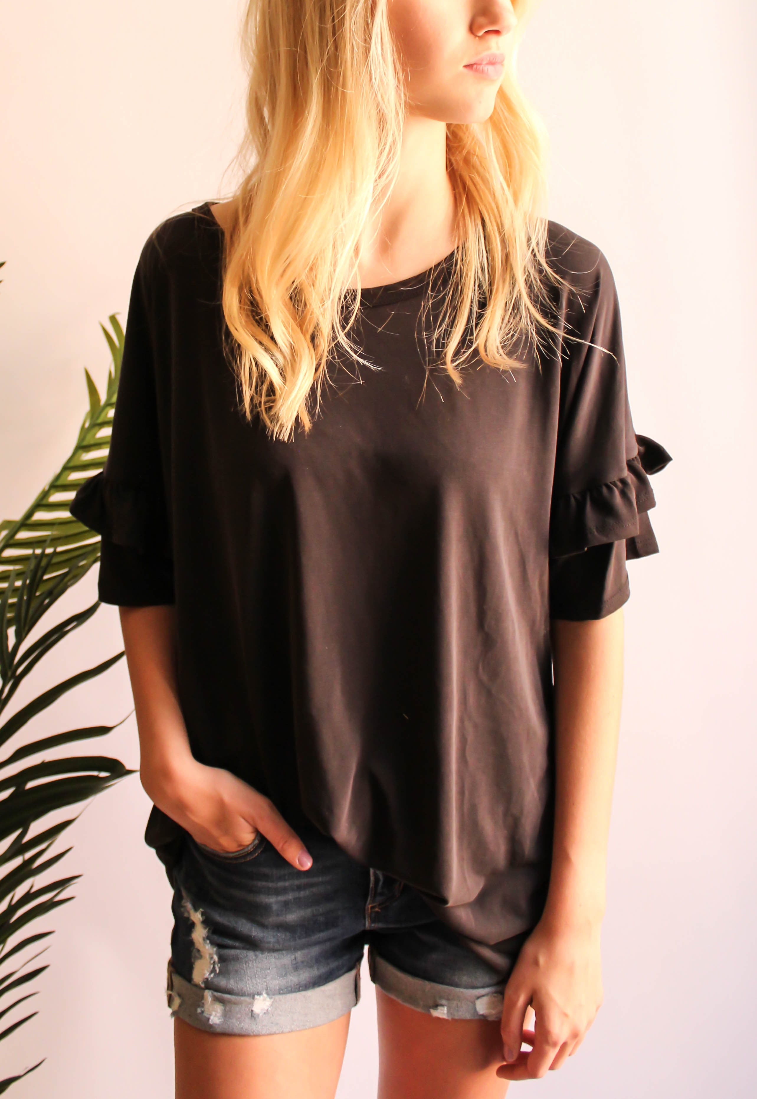 Hayden Ruffle Sleeve Top (Black)