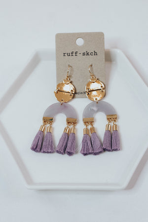 Gabriela Fringe Earrings in Purple